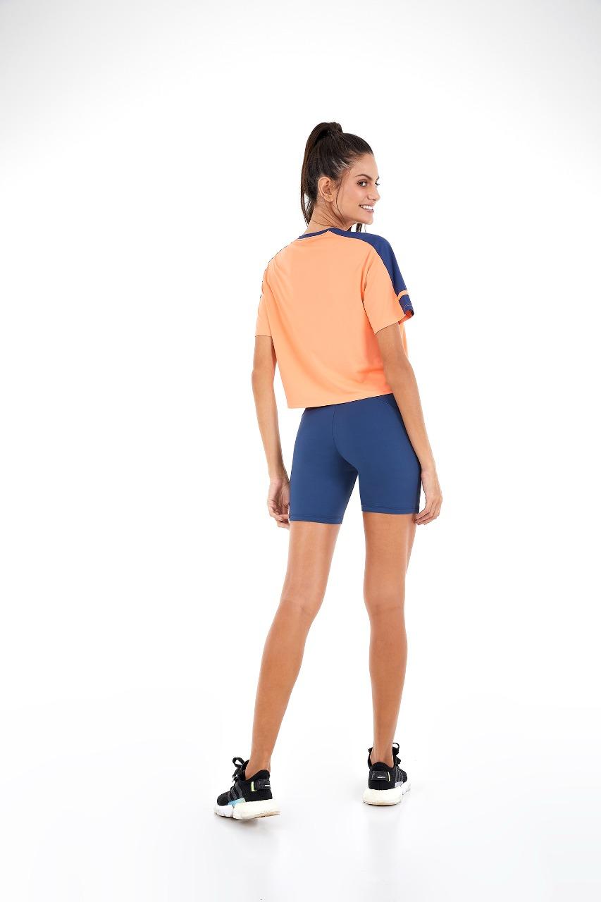 T-shirt skin fit com recortes Laranja melon -