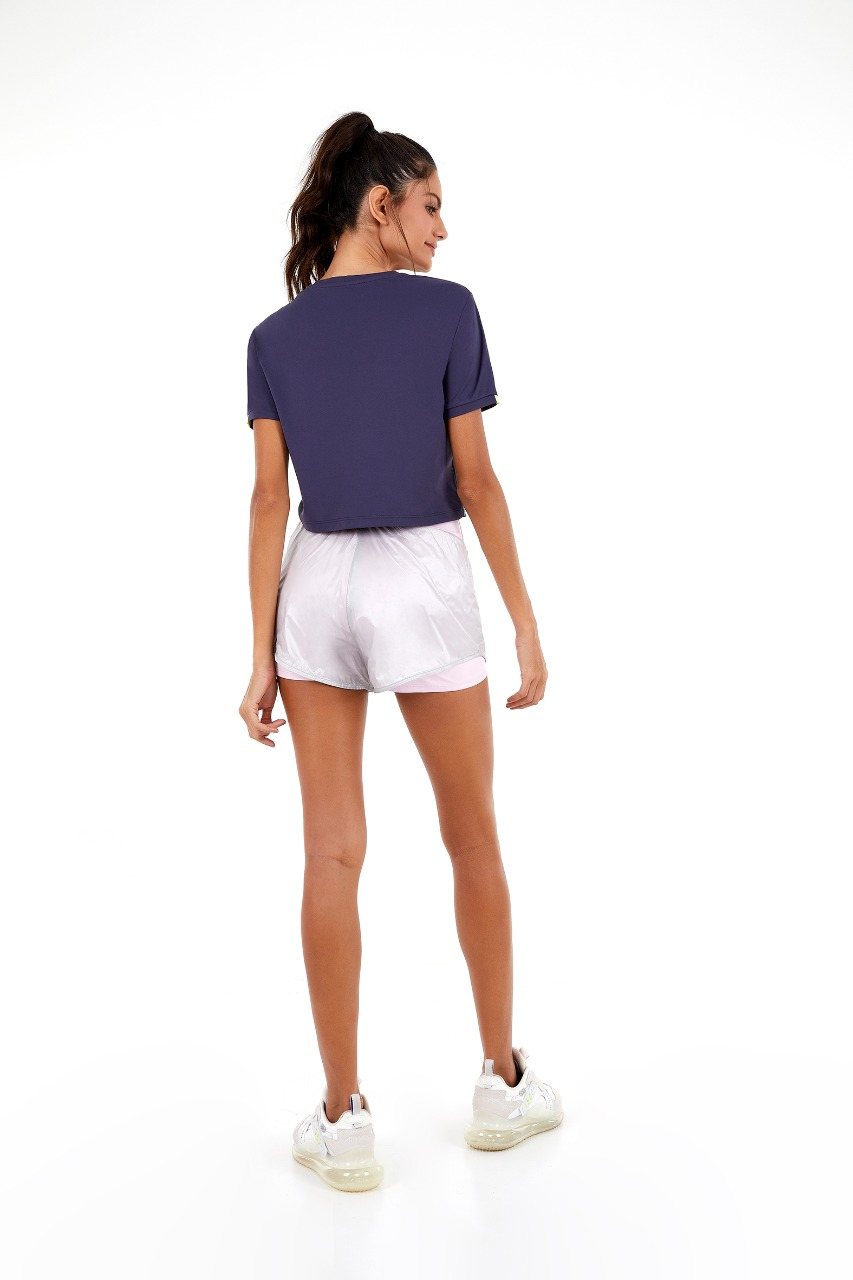 T-shirt skin fit cropped detalhes mangas Cinza odyssey -