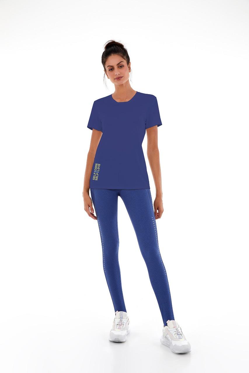 T-shirt skin fit inspiracional Azul movement -