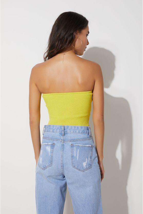 Top em tricot sem alça Amarelo Lima -