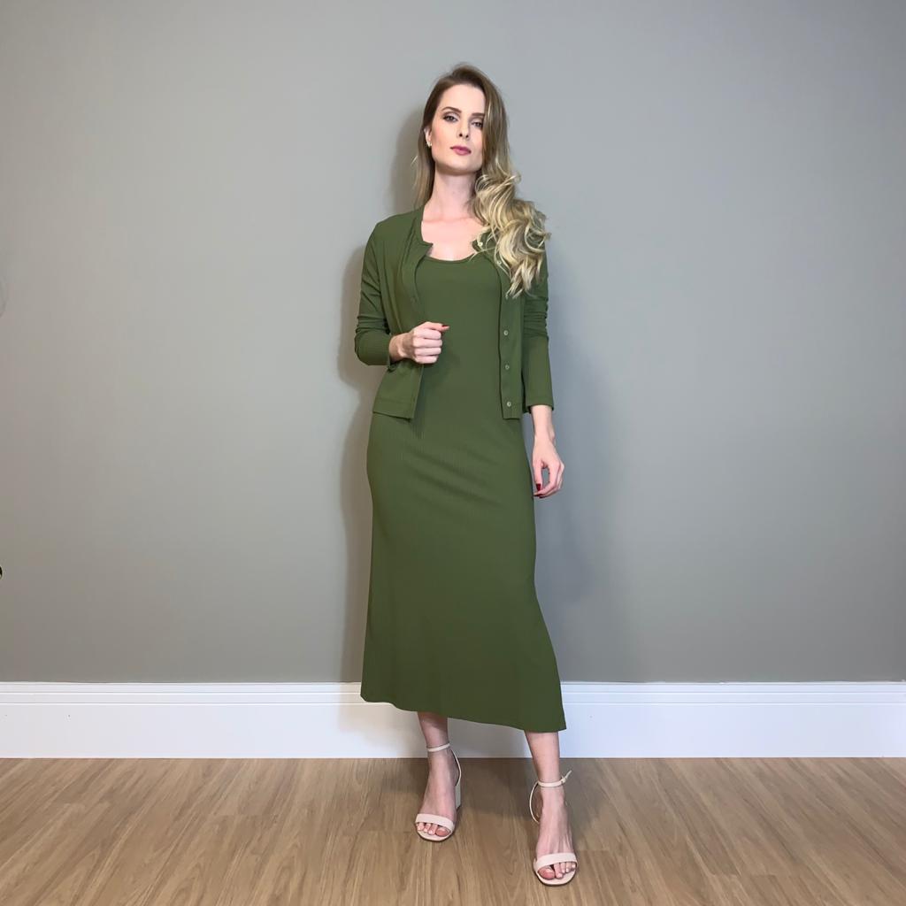 Twin set cardigan e vestido Verde -
