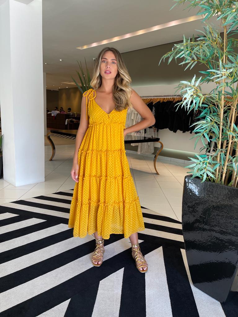Vestido 3 botões Amarelo -