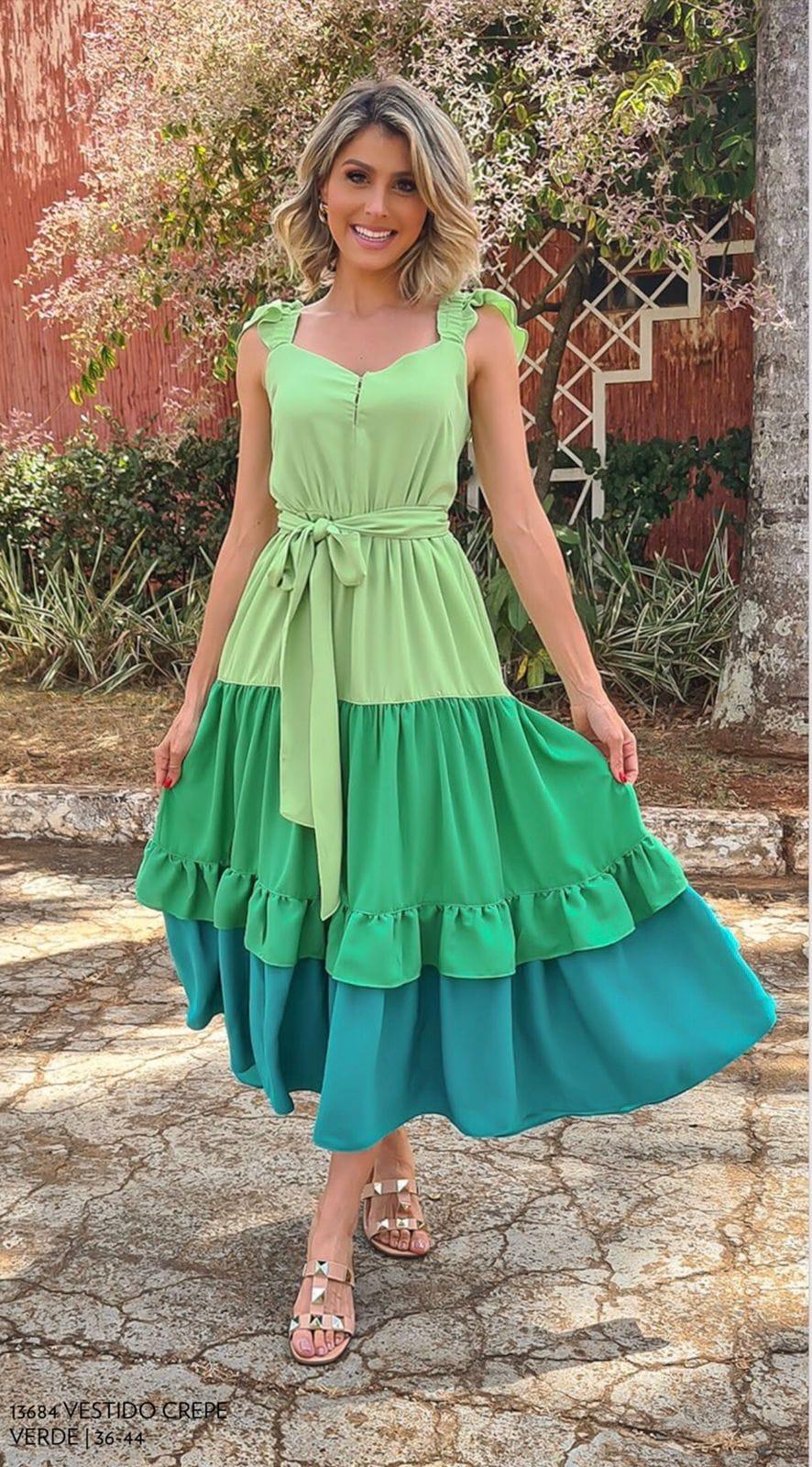 Vestido Ana Lívia com babados Verde -