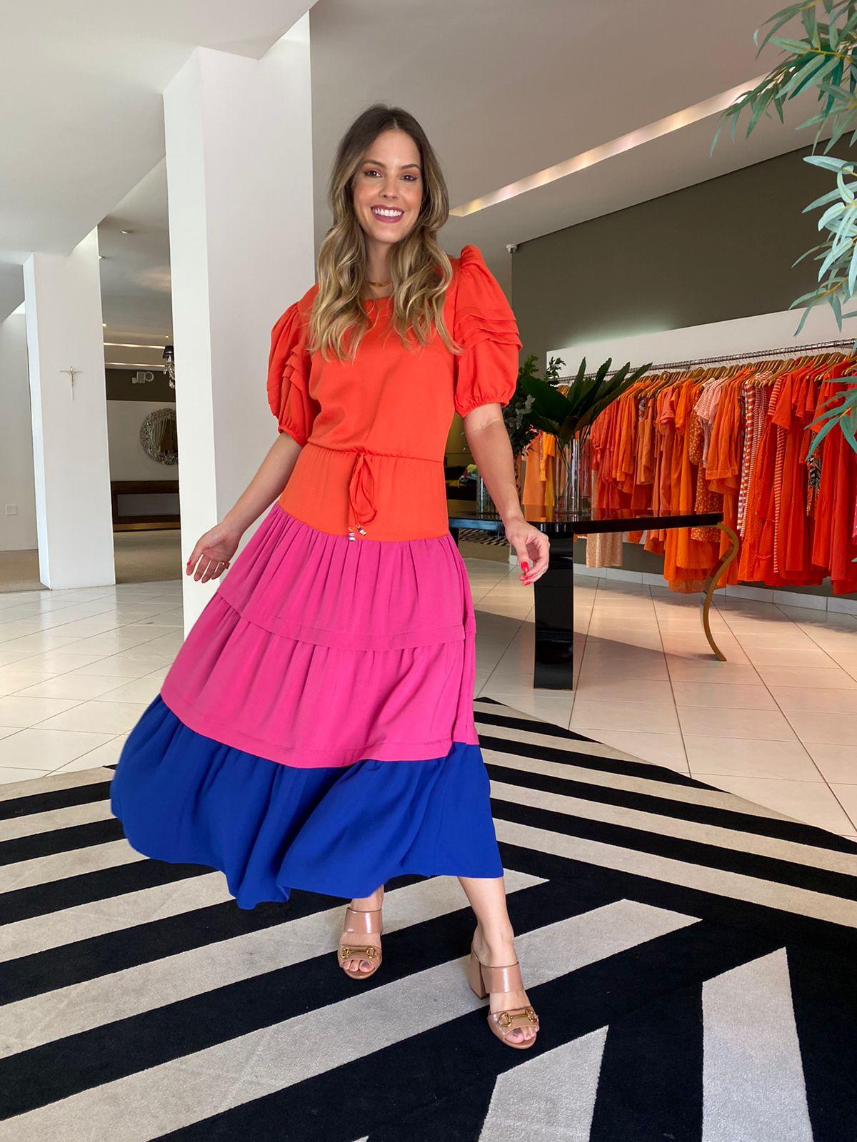 Vestido Bianca Color block -