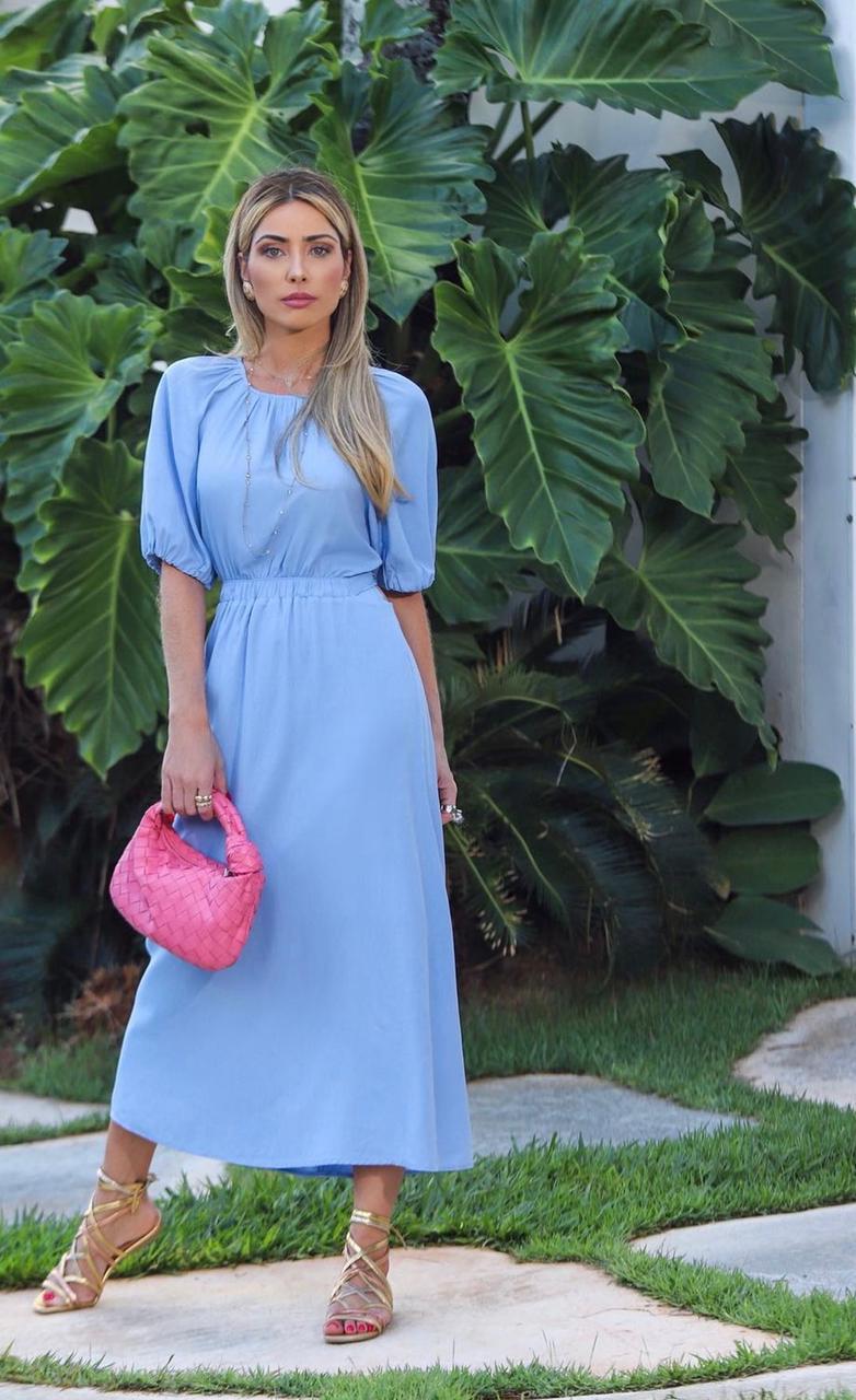 Vestido c/ botões na horizontal Azul -