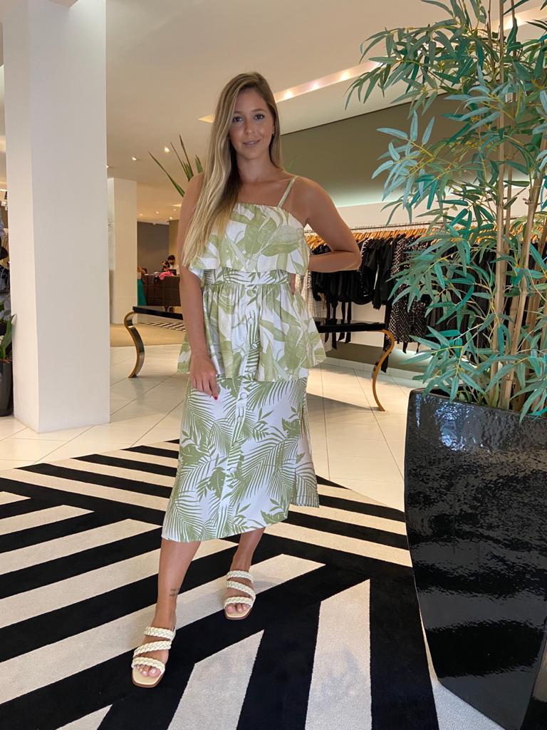 Vestido camadas linho florido Verde -