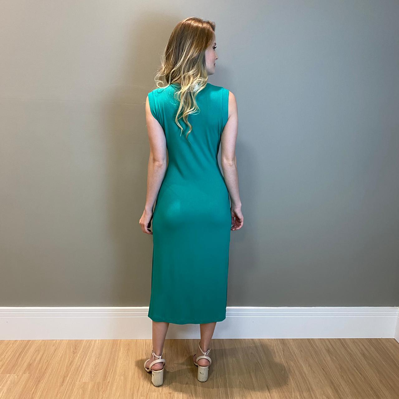 Vestido canelado c/ faixa Verde -