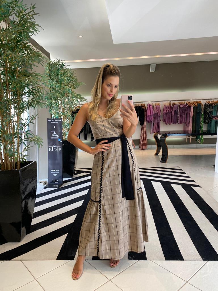 Vestido Carmel xadrez Bege escuro -