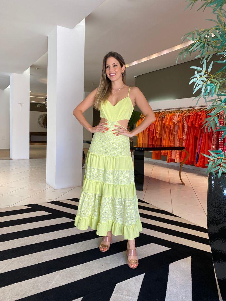 Vestido Clarice midi de laise c/ linho Amarelo -