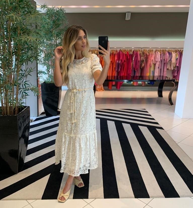 Vestido com cinto em renda cotton lace Off White-