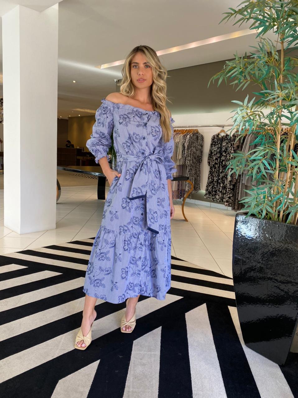 Vestido Cristin Off/Azul -