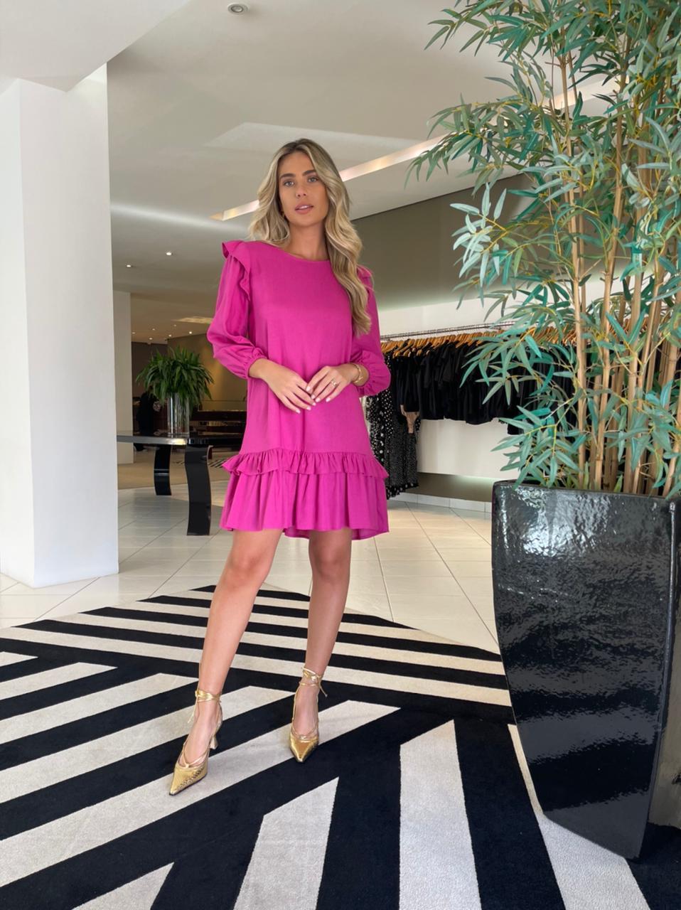 Vestido curto a linho Pink -