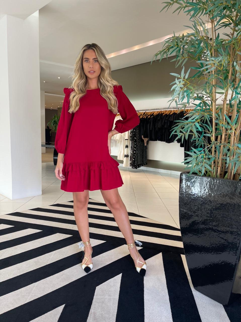 Vestido curto a linho Vermelho -