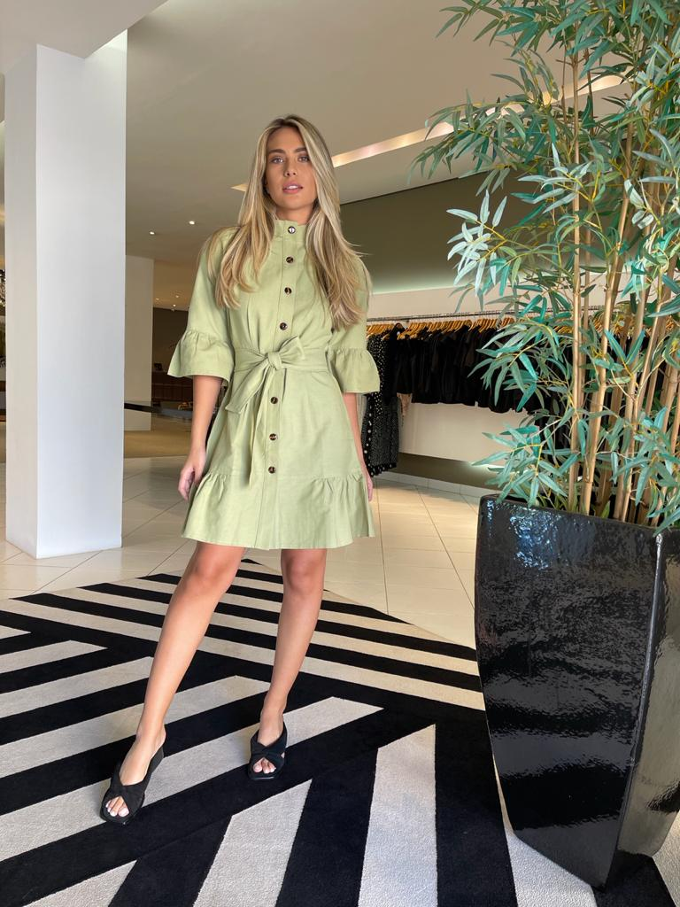 Vestido curto c/ botões e mg flare Verde-