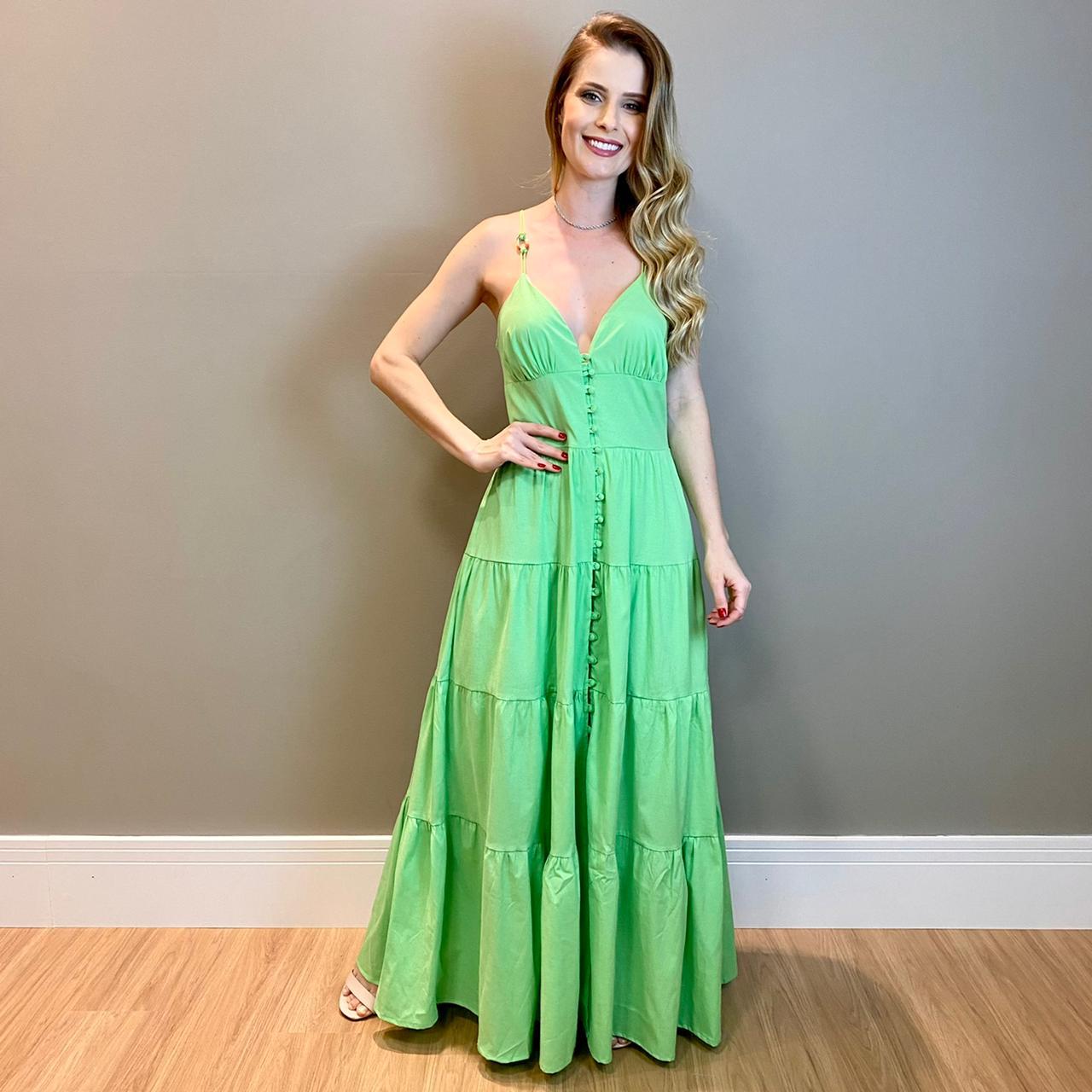 Vestido detalhe na alça Verde -