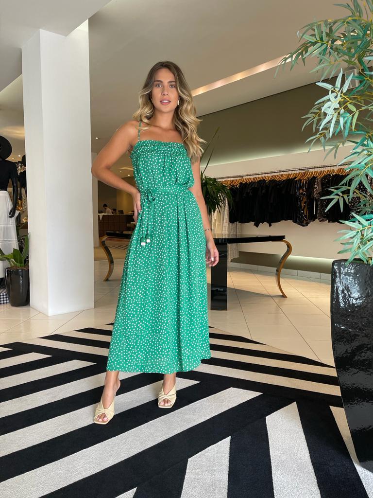 Vestido double chiffon spot Verde -