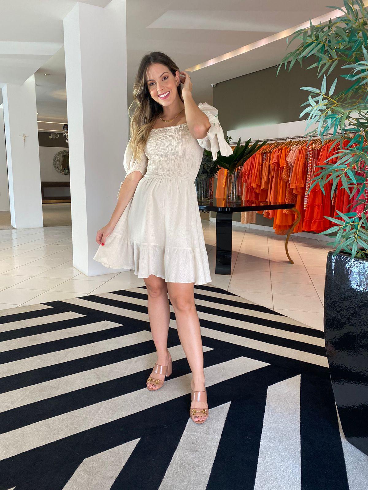 Vestido Eduarda Bege -