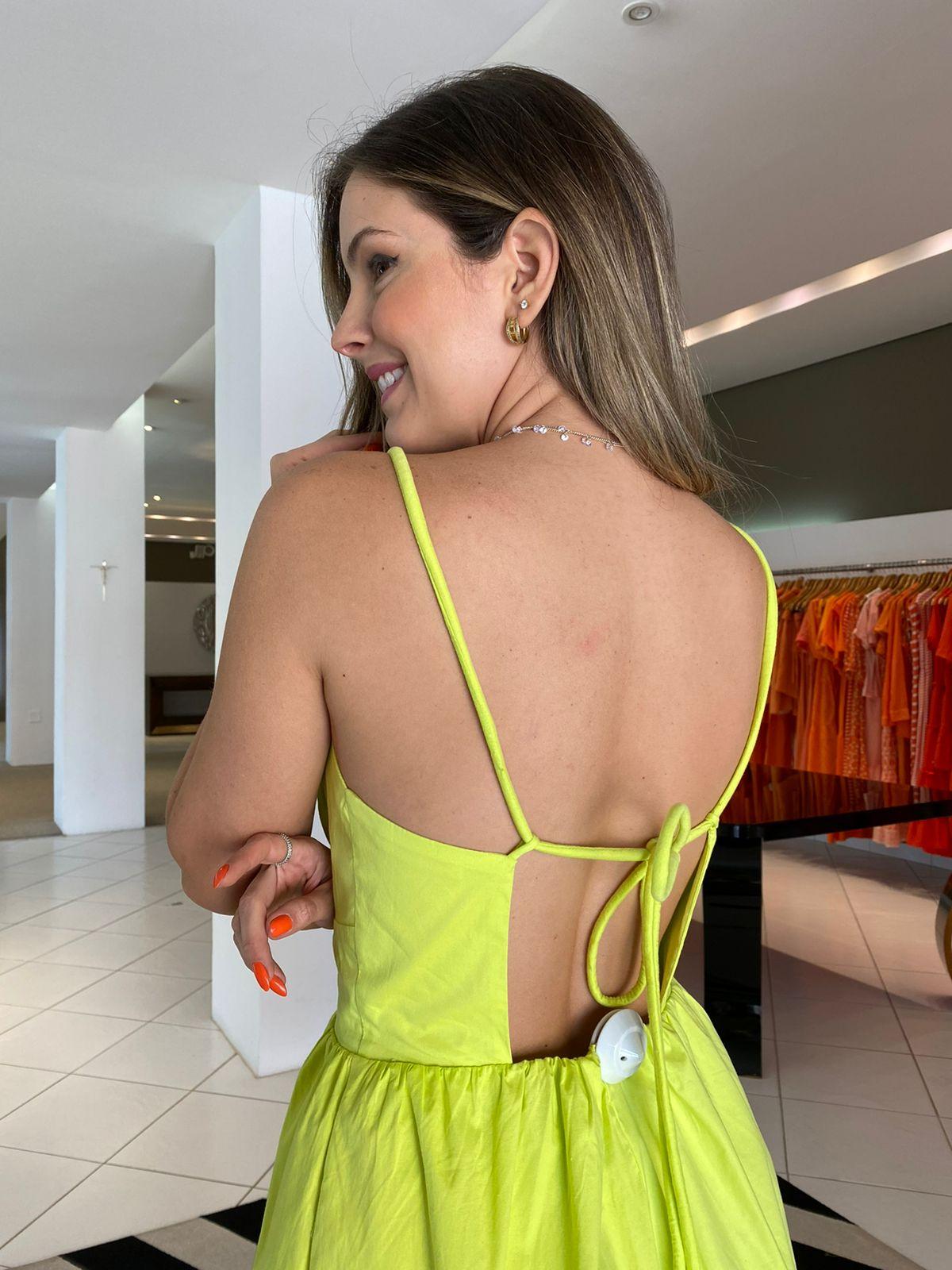 Vestido Eduarda dect V tricoline Amarelo -