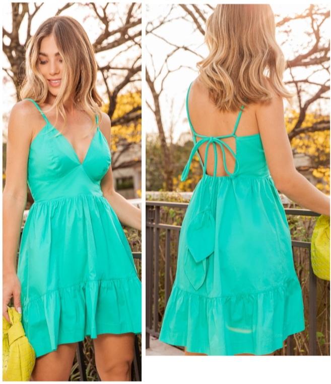 Vestido Eduarda dect V tricoline Verde -