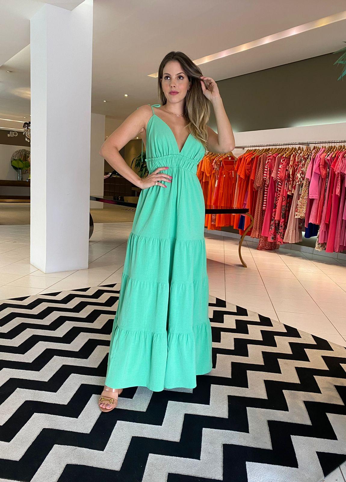 Vestido Emanuelly longo c/ dect Verde -