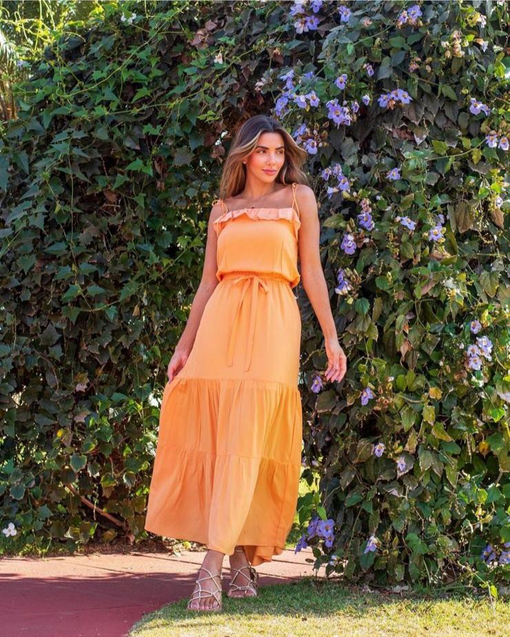 Vestido Flora Laranja -