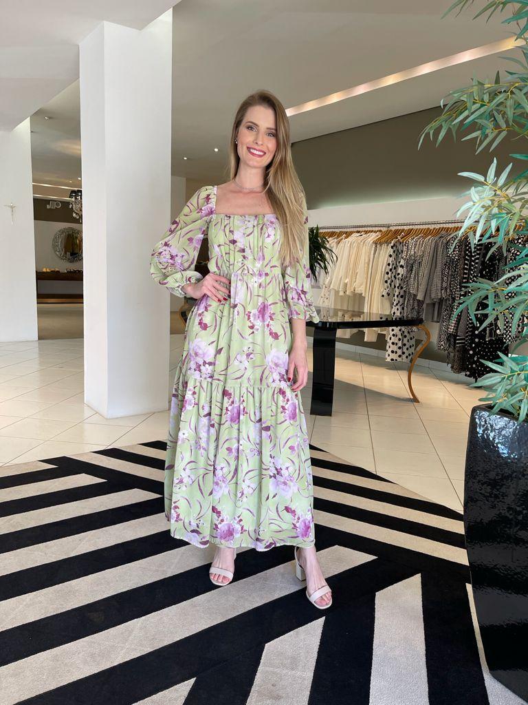Vestido floral gypsy Verde -