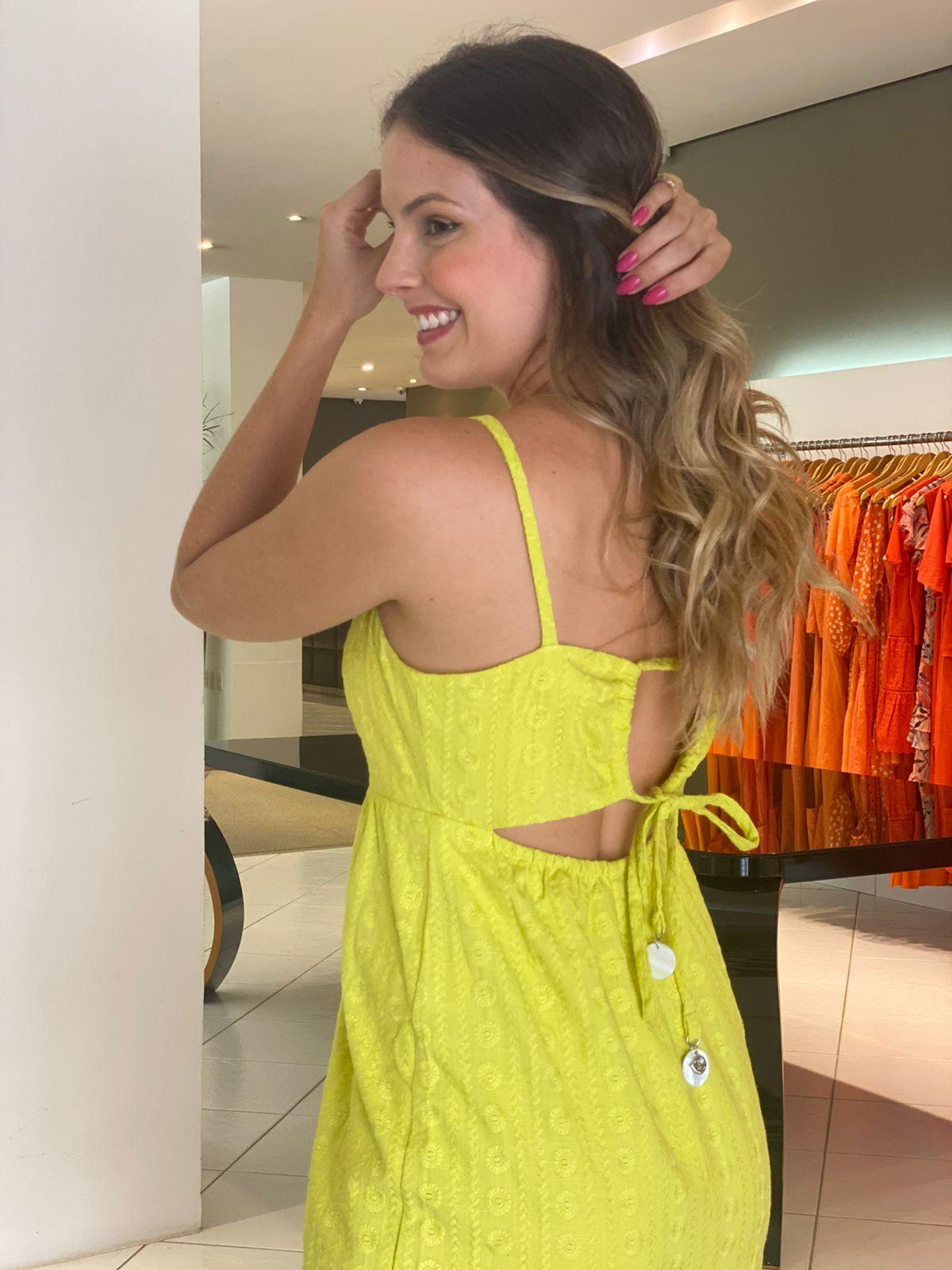 Vestido Gabrielle midi c/ amarração nas costa Lima -
