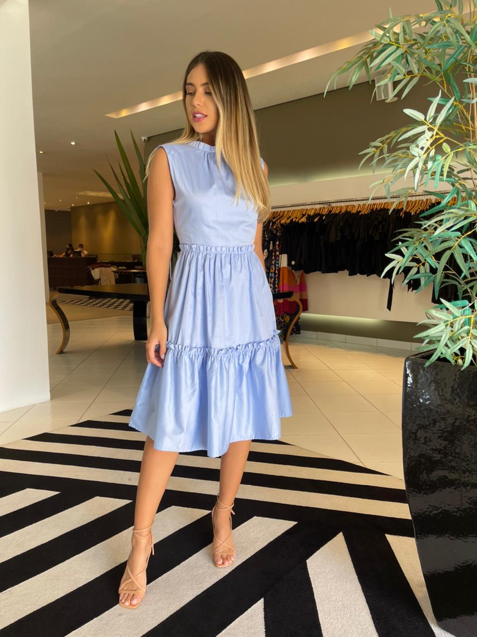 Vestido gl franzida tricoline lisa Azul -