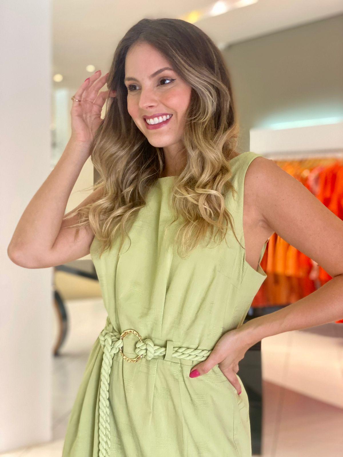 Vestido Heloísa longo decote canoa Maça Verde -