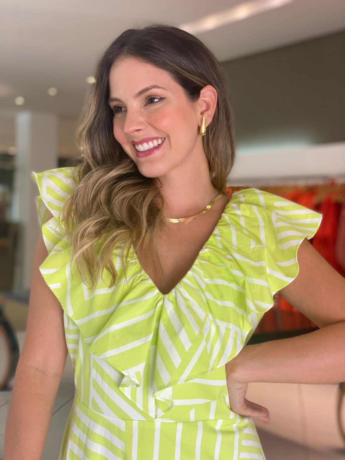 Vestido Isabel estamp. gode c/ babados Lima -