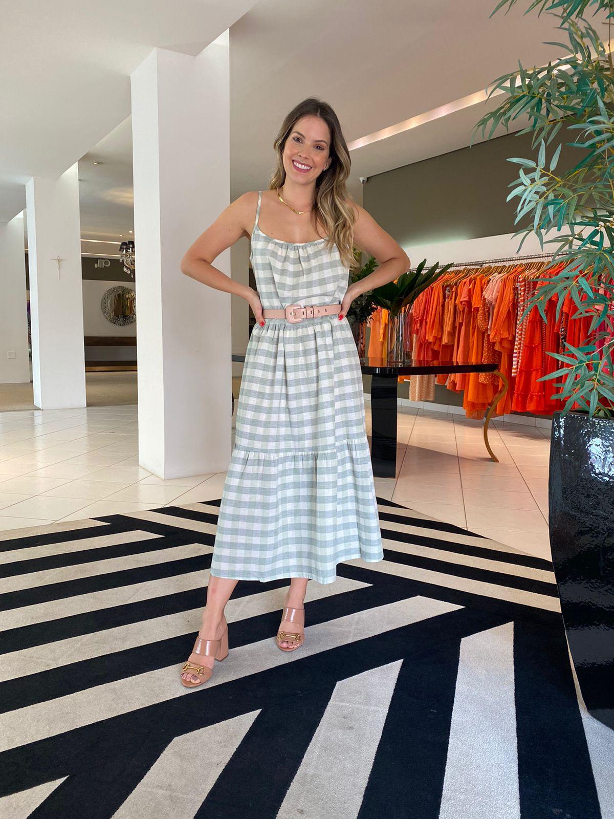 Vestido Juliana midi xadrez alça e babdos Verde -