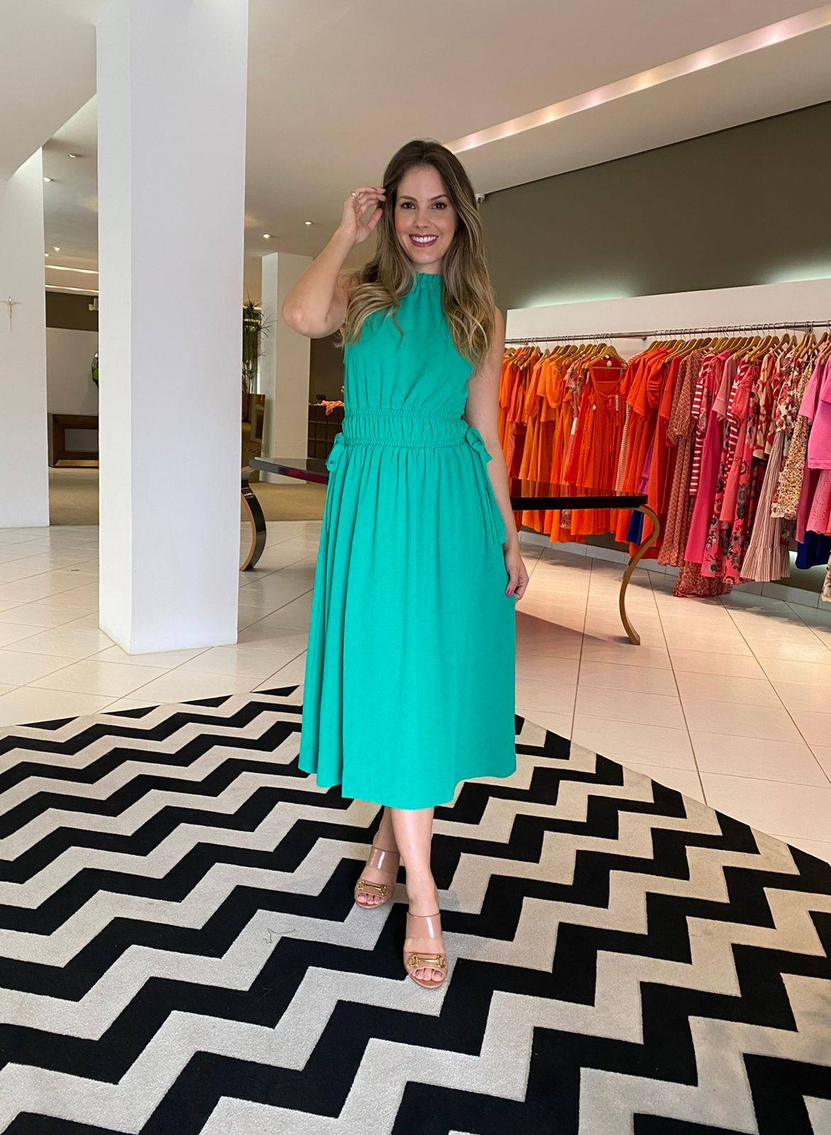 Vestido Lara regata c/ gola Verde -