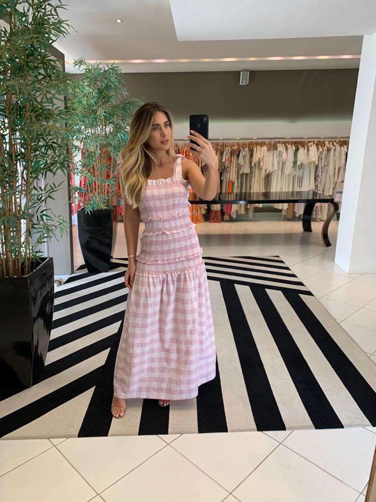 vestido lastex longo rosa -
