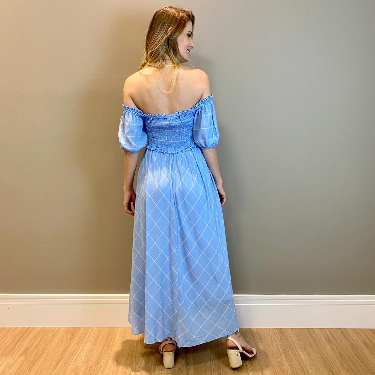 Vestido lastex xadrez Azul -