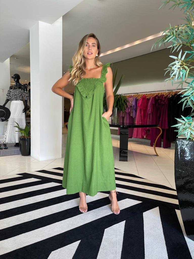 Vestido linho midi triangulo lastex Verde -