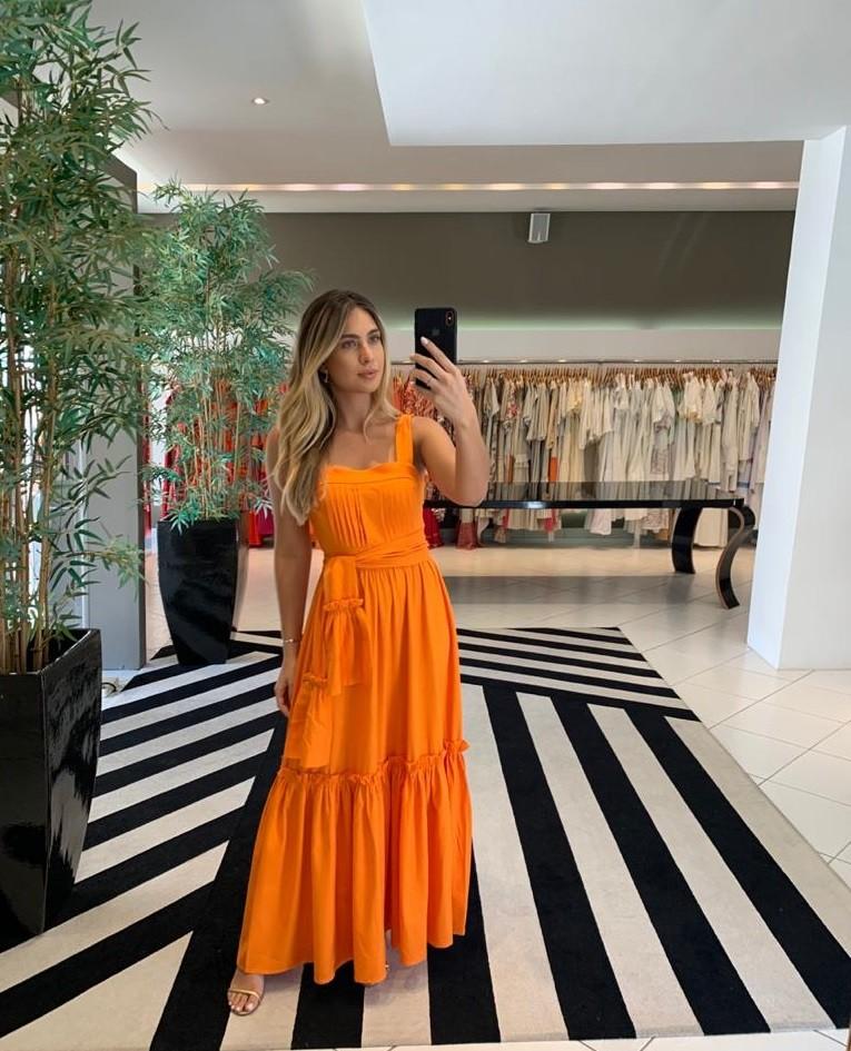 vestido longo alça larga Laranja -