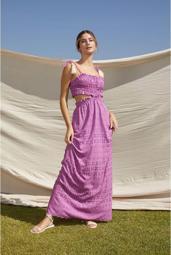 Vestido longo lasie c/ abertura Roxo -