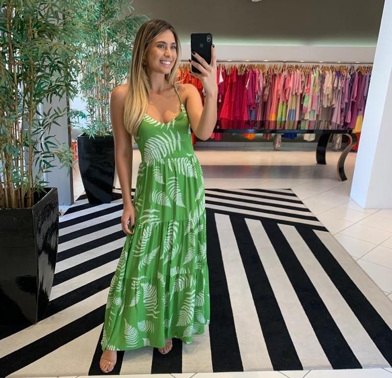 Vestido longo transversal em double Verde -