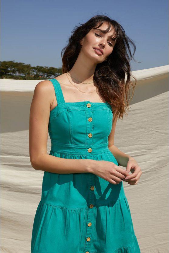 Vestido longuete em sarja c/ vista Verde -
