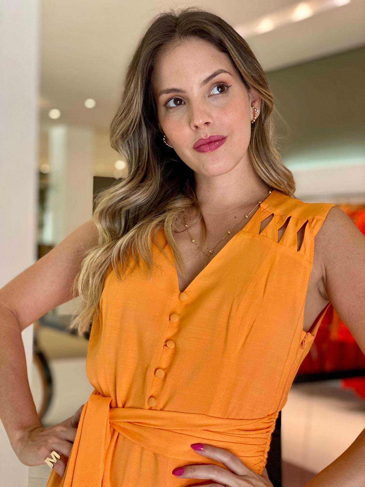 Vestido Maitê c/ detalhe no ombro Laranja -