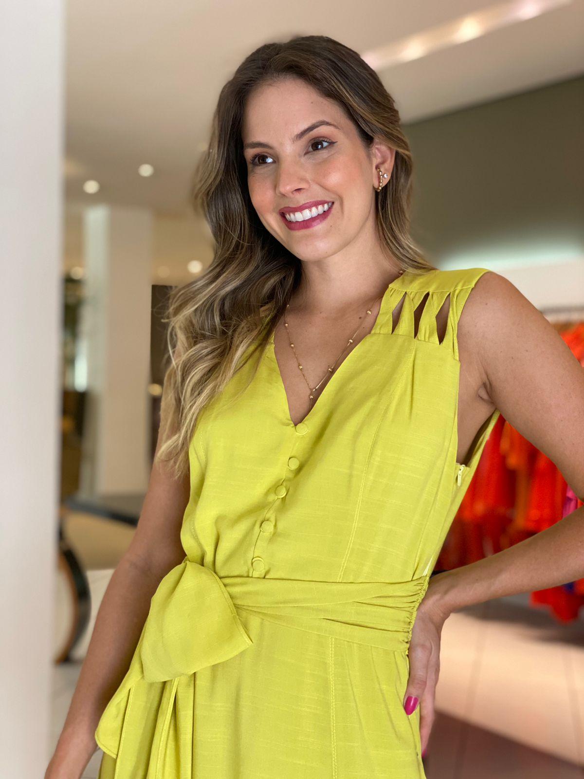 Vestido Maitê c/ detalhe no ombro Lima -