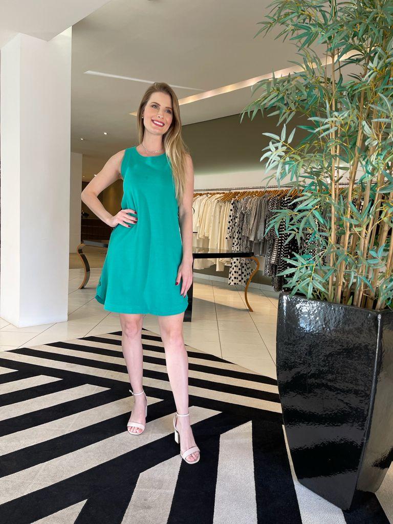 Vestido malha sarjada det. botões Verde -
