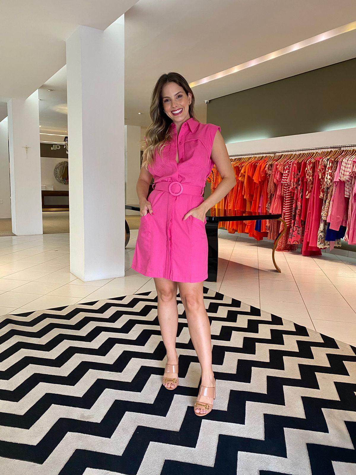 Vestido Mariah curto regata em linho Pink -
