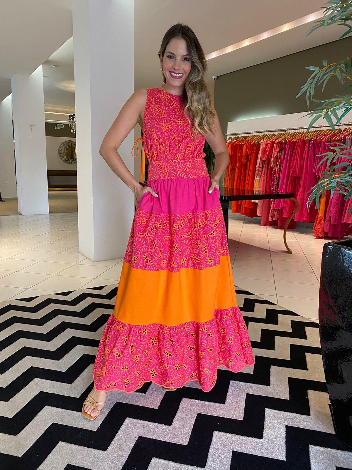Vestido Maya Bordado babado amarração Laranja/Pink -