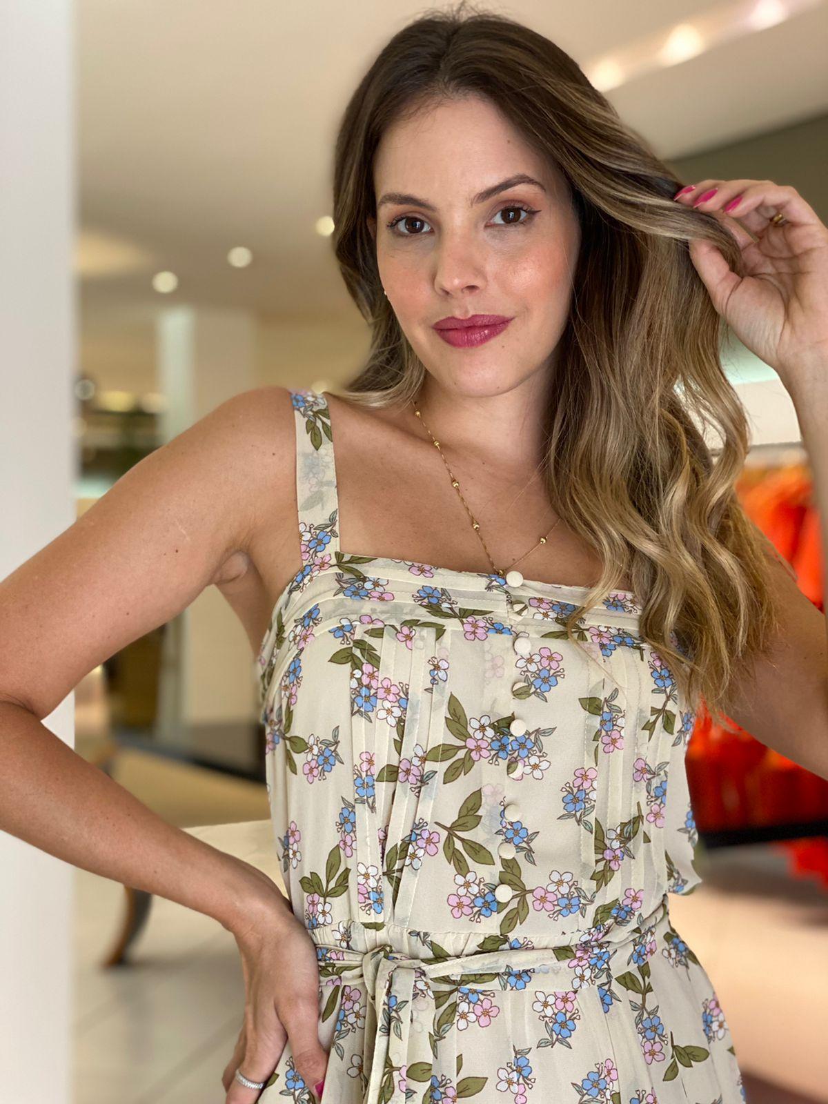 Vestido Maya chiffon floral Bege -