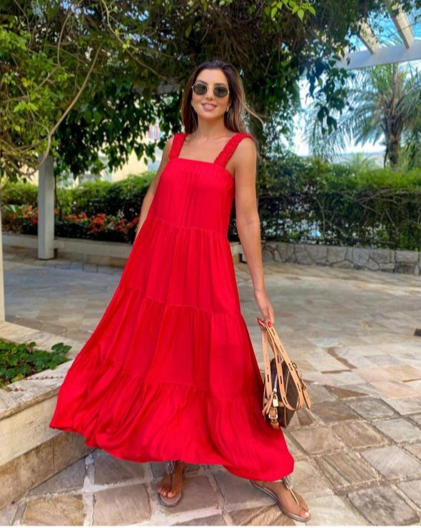 Vestido midi amplo Vermelho -
