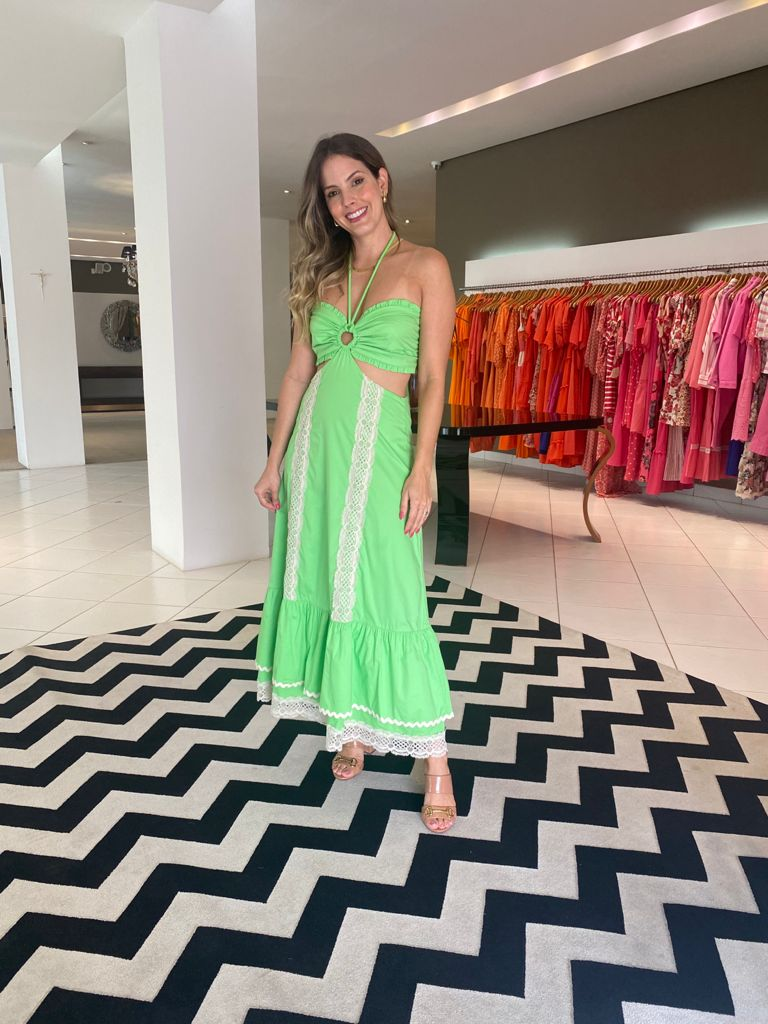 Vestido midi Ayla Verde Neon -