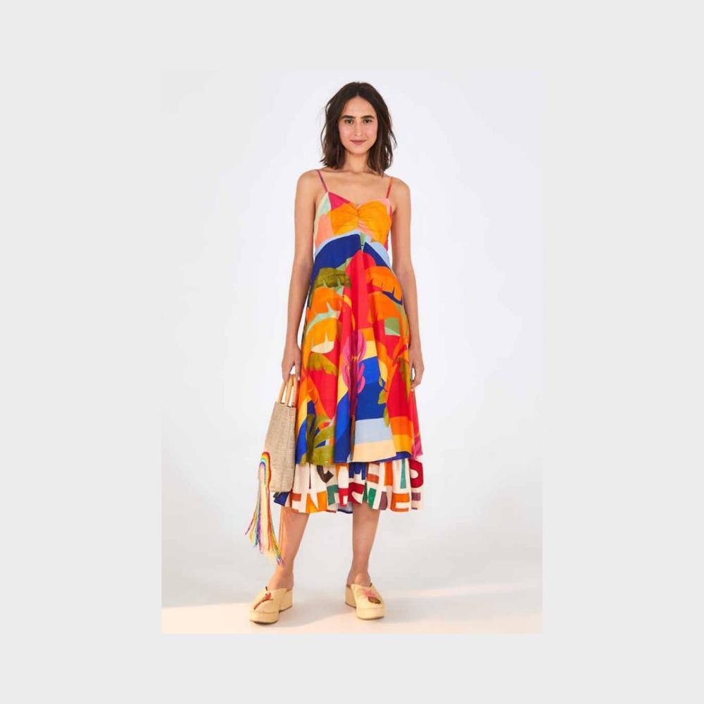 Vestido midi Brasil de cor colorido