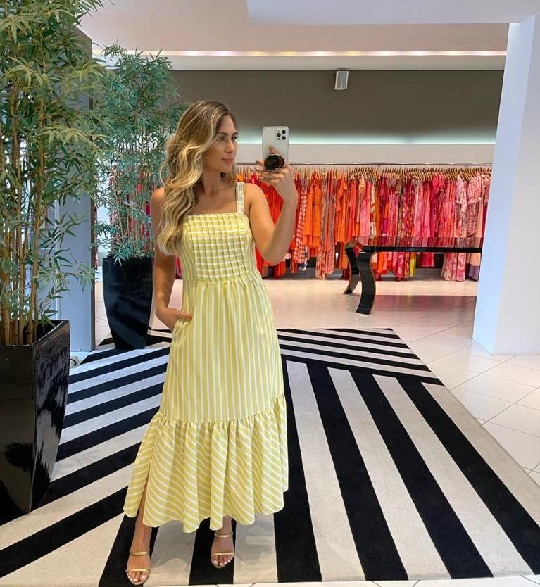 Vestido midi isabelli Amarelo-