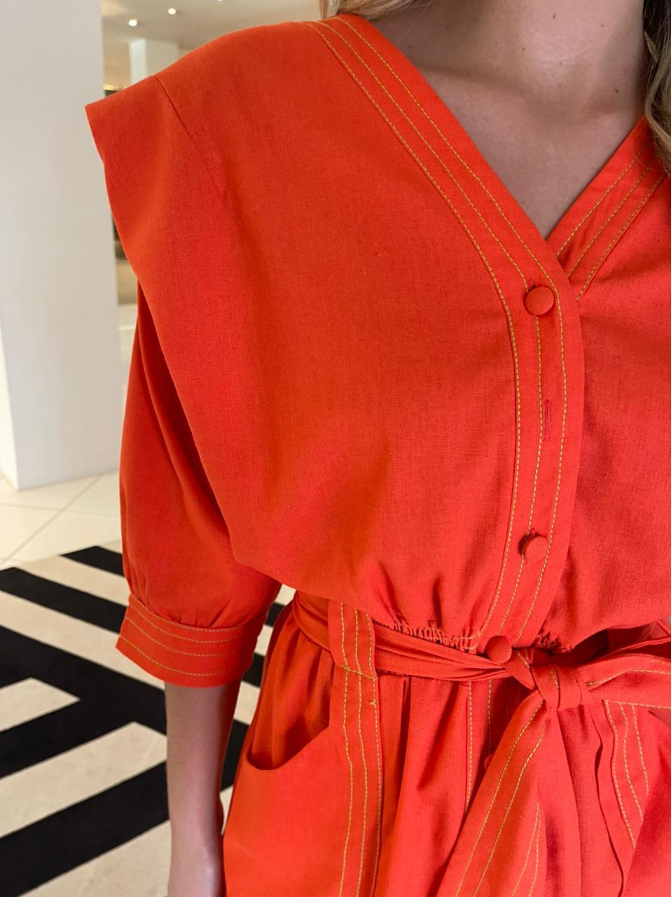 Vestido midi linho Vermelho -